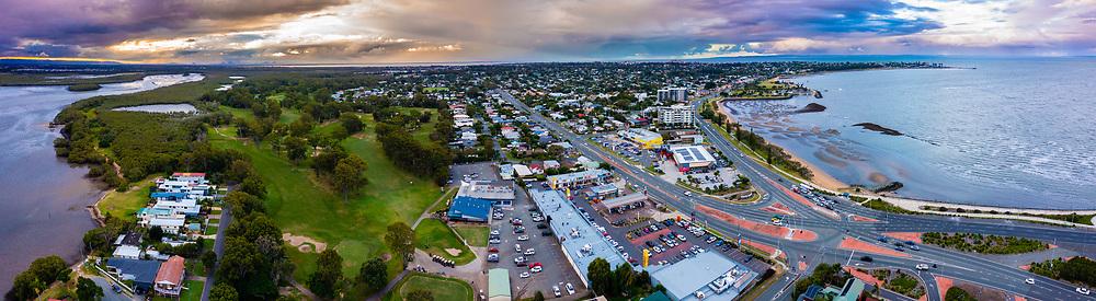 Panoramic aerial view of the Redcliffe Peninsula, Moreton Bay, Queensland, Australia