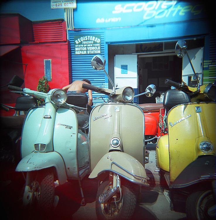 Vintage scooters, Redhook, Brooklyn, 2007