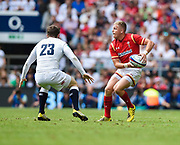 Wales' Gareth Anscombe takes on Elliot Daley during the The Old Mutual Wealth Cup match England -V- Wales at Twickenham Stadium, London, Greater London, England on Sunday, May 29, 2016. (Steve Flynn/Image of Sport)