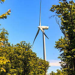 Mahanoy City, PA – June 14, 2016: One of the Gamesa 2MW wind turbines in operation at the Locust Ridge Wind Farm in Schuylkill County, Pennsylvania.