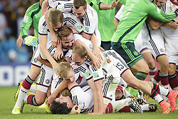 July 13, 2014 - Rio De Janeiro, Brazil - German players celebrate after winning the final between Argentina and Germany at the World Cup. Germany defeated Argentina 1:0. (Credit Image: © Niklas Larsson / Bildbyran / ZUMA Wire)