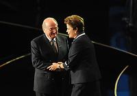 20110730: RIO DE JANEIRO, BRAZIL - Joseph Sepp Blatter and Brazilian President Dilma Rousseff Qualification draw for the 2014 World Cup held at the Marina da Gloria in Rio<br /> PHOTO: CITYFILES