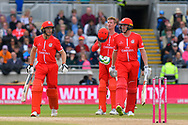 James Faulkner of Lancashire comes out to bat along with Jos Buttler of Lancashire as his runner during the Vitality T20 Finals Day Semi Final 2018 match between Worcestershire Rapids and Lancashire Lightning at Edgbaston, Birmingham, United Kingdom on 15 September 2018.