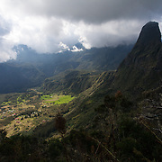 Village of Cirque de Mafate as seen from Col du Taibit Pass. This small French village is only accessible by foot or by helicopter.