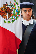 A young school girl carries the Mexican flag during a parade to celebrate the 251st birthday of the Mexican Independence hero Ignacio Allende January 21, 2020 in San Miguel de Allende, Guanajuato, Mexico. Allende, from a wealthy family in San Miguel played a major role in the independency war against Spain in 1810 and later honored by his home city by adding his name.