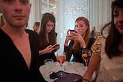 DENISE HIGGINS;( POLKA)  KAT TILLSON, Glenda Bailey's Bazaar Greatest Hits book party. Savile Club. Brook St. London. 18 September 2011. <br /> <br />  , -DO NOT ARCHIVE-© Copyright Photograph by Dafydd Jones. 248 Clapham Rd. London SW9 0PZ. Tel 0207 820 0771. www.dafjones.com.