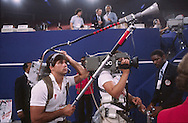 A camera crew during the Republican Convention in 1980 in Detroit, MI..Photograph by Dennis Brack bs b 17