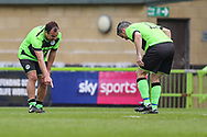 Forest Green Legends Paul Hunt and Forest Green Legends Alex Sykes look for a bobble on the pitch during the Trevor Horsley Memorial Match held at the New Lawn, Forest Green, United Kingdom on 19 May 2019.