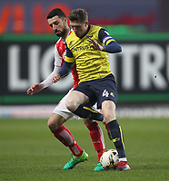 Fleetwood Town's Conor McLaughlin battles with Oxford United's John Lundstram<br /> <br /> Photographer Mick Walker/CameraSport<br /> <br /> The EFL Sky Bet League One - Oxford United v Fleetwood Town - Wednesday 5th April 2017 - Kassam Stadium - Oxford<br /> <br /> World Copyright © 2017 CameraSport. All rights reserved. 43 Linden Ave. Countesthorpe. Leicester. England. LE8 5PG - Tel: +44 (0) 116 277 4147 - admin@camerasport.com - www.camerasport.com