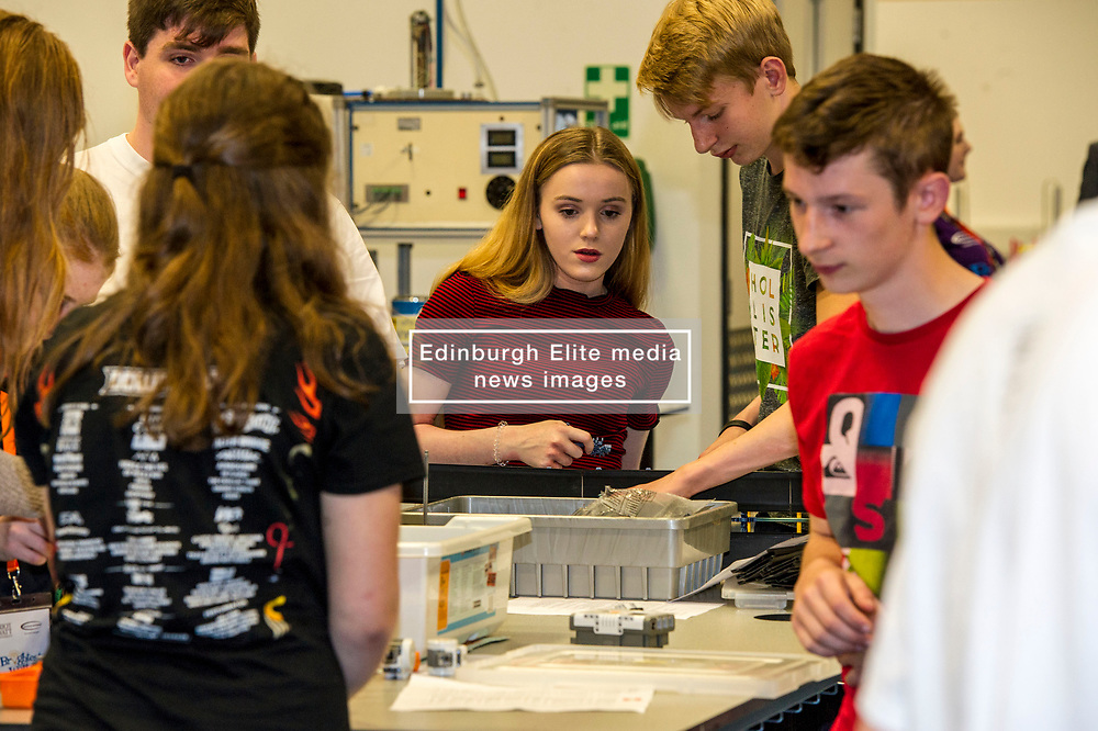 Pictured: Alana Mackay leads her colleagues in their task<br /> Minister for Higher Education, Shirley-Anne Somerville ,MSP, visited Heriot-Watt universiry today and met S5 and S6 pupils from Edinburgh, Forth Valley, Fife and the Lothians taking part in a week of activities to give them an idea what life at a university might be like.<br /> Ger Harley | EEm 26 July  2017