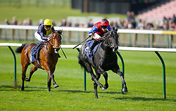 Jackstar ridden by jockey Richard Kingscote (right) on his way to winning the Montaz Restaurant EBF Novice Stakes during day one of The Bet365 Craven Meeting at Newmarket Racecourse, Newmarket.