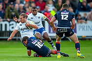 Max Clark of Bath Rugby is tackled by Simon Hickey of Edinburgh Rugby during the Rugby Friendly match between Edinburgh Rugby and Bath Rugby at Meggetland Sports Complex, Edinburgh, Scotland on 17 August 2018.