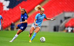Chloe Kelly of Manchester City Women gets past Fran Kirby of Chelsea Women- Mandatory by-line: Nizaam Jones/JMP - 29/08/2020 - FOOTBALL - Wembley Stadium - London, England - Chelsea v Manchester City - FA Women's Community Shield