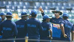 July 12, 2017 - Colombo, Sri Lanka - Sri Lankan interim head coach Nic Pothas instructs the Sri Lankan cricket players ahead of the Test match against the visiting Zimbabwe cricket team at R. Premadasa International Cricket Stadium at Colombo, Sri Lanka on Thursday July 13 2017. (Credit Image: © Tharaka Basnayaka/NurPhoto via ZUMA Press)