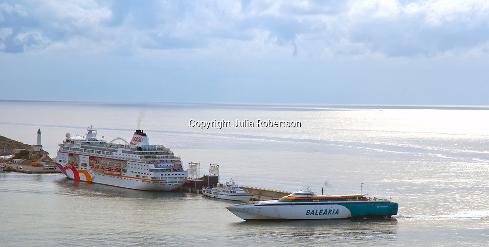 Aerial view of Baleria Ferry leaving the Port of Ibiza Spain