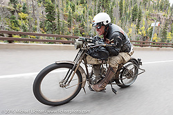 Dean Bordigioni of California works his way up Wolf Creek pass on his Class-1 single-cylinder single-speed 1914 Harley-Davidson during the Motorcycle Cannonball Race of the Century. Stage-10 ride from Pueblo, CO to Durango, CO. USA. Tuesday September 20, 2016. Photography ©2016 Michael Lichter.