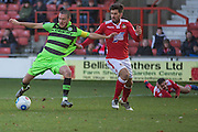 Forest Green Rovers Liam Noble(15) has his shirt pulled in the box during the Vanarama National League match between Wrexham FC and Forest Green Rovers at the Racecourse Ground, Wrexham, United Kingdom on 26 November 2016. Photo by Shane Healey.