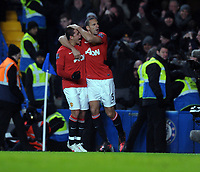 Javier Hernandez Celebrates Scoring 3rd goal with team mate Rio Ferdinand<br />Manchester United 2011/12<br />Chelsea V Manchester United (3-3) 05/02/12<br />The Premier League<br />Photo: Robin Parker Fotosports International