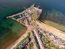 Aerial view from drone of North Berwick harbour in East Lothian, Scotland, UK