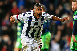 Jose Salomon Rondon of West Bromwich Albion celebrates scoring a goal to level the match at 1-1 - Mandatory byline: Rogan Thomson/JMP - 02/02/2016 - FOOTBALL - The Hawthornes - West Bromwich, England - West Bromwich Albion v Swansea City - Barclays Premier League.