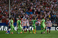 Atletico de Madrid´s players argue with Juventus´s players during Champions League soccer match between Atletico de Madrid and Juventus at Vicente Calderon stadium in Madrid, Spain. October 01, 2014. (ALTERPHOTOS/Victor Blanco)