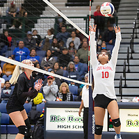 Pine Hill's Cheyanne Harrison (10) sets the ball during their match against Tatum Thursday evening at Rio Rancho High School in the NMAA Class 1A State Volleyball tournament in Rio Rancho. Pine Hill won the match in five sets.
