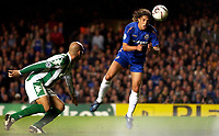 Photo: Daniel Hambury.<br />Chelsea v Real Betis. UEFA Champions League.<br />19/10/2005.<br />Chelsea's Hernan Crespo gets infront of his marker to score the fourth goal.