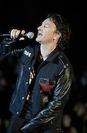 U2's Bono  performs on Wednesday night to a packed arena at the Joyce Athletic and Convocation Center. Santiago Flores/ photo/ news 101001
