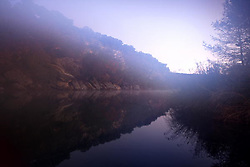 Stock photo of a foggy early morning on the river in the Texas Hill Country