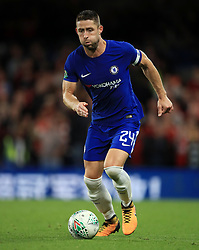 """Chelsea's Gary Cahill during the Carabao Cup, Third Round match at Stamford Bridge, London. PRESS ASSOCIATION Photo. Picture date: Wednesday September 20, 2017. See PA story SOCCER Chelsea. Photo credit should read: Mike Egerton/PA Wire. RESTRICTIONS: EDITORIAL USE ONLY No use with unauthorised audio, video, data, fixture lists, club/league logos or """"live"""" services. Online in-match use limited to 75 images, no video emulation. No use in betting, games or single club/league/player publications."""