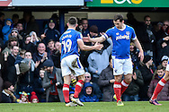 Portsmouth Forward, Conor Chaplin (19) celebrates his goal with Portsmouth Midfielder, Michael Doyle (8) during the EFL Sky Bet League 2 match between Portsmouth and Leyton Orient at Fratton Park, Portsmouth, England on 14 January 2017. Photo by Adam Rivers.