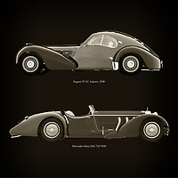 For the lover of old classic cars, this combination of a Bugatti 57-SC Atlantic 1938 and Mercedes-Benz SSK-710 1930 is truly a beautiful work to have in your home.<br /> The classic Bugatti 57-SC and the beautiful Mercedes-Benz SSK are among the most beautiful cars ever built.<br /> You can have this work printed in various materials and without loss of quality in all formats.<br /> For the oldtimer enthusiast, the series by the artist Jan Keteleer is a dream come true. The artist has made a fine selection of the very finest cars which he has meticulously painted down to the smallest detail. – –<br /> -<br /> <br /> BUY THIS PRINT AT<br /> <br /> FINE ART AMERICA<br /> ENGLISH<br /> https://janke.pixels.com/featured/bugatti-57-sc-atlantic-1938-and-mercedes-benz-ssk-710-1930-jan-keteleer.html<br /> <br /> WADM / OH MY PRINTS<br /> DUTCH / FRENCH / GERMAN<br /> https://www.werkaandemuur.nl/nl/shopwerk/Bugatti-57-SC-Atlantic-1938-en-Mercedes-Benz-SSK-710-1930/755139/132?mediumId=1&size=60x60<br /> –