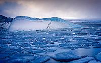 JOKULSARLON, ICELAND - CIRCA MARCH 2015: Iceberg in the  Jökulsárlón glacial lagoon in Iceland on the edge of Vatnajökull National Park