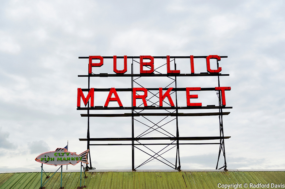 Public market sign at the fish market, Pike Place, Seattle, Washington