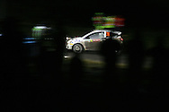 Action from the Wales Rally GB 2008. Stage under darkness at the Walters Arena nr Glynneath,South Wales on Friday 5th Dec 2008.