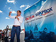 13 AUGUST 2019 - DES MOINES, IOWA: PETE BUTTIGIEG speaks to the crowd gathered at the Des Moines Register Political Soap Box. More than 1,000 people turned out to hear Buttigieg. Buttigieg, the Mayor of South Bend, Indiana, is running to be the Democratic nominee for the US presidency. He spoke at the Des Moines Register Political Soap Box at the Iowa State Fair and then toured the fairgrounds. Iowa has the first event of the presidential selection cycle. The Iowa Caucuses are February 3, 2020.               PHOTO BY JACK KURTZ
