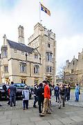 Oxford, GREAT BRITAIN., royal Standard Flag, hoisted up above the Tower Royal visit to Magdalen College, Thursday 27/11/2008, [Mandatory Credit Peter Spurrier]