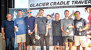 The men's team podium after Stage 3 of the 2017 Glacier Cradle Traverse, on Sunday the 7th of May. From left to right: Johan Stumpf (Managing Director Mpact), Grant Robertson & Tim Lansom (Cousins   3rd), Andrew Stockwell & Dan Fowler (Continental Tyres   1st) and Johan Cronje & Janus Marais (Zebra Sports   2nd). Photo by Oakpics/Cradle Traverse/Sportzpics.