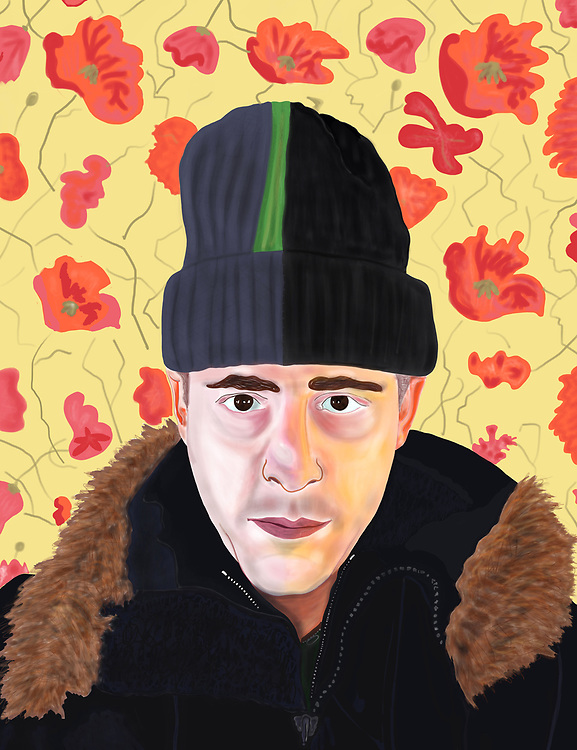 Self portrait in winter clothes in front of floral wallpaper in East Village.