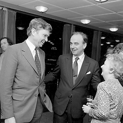 17 March 1982 - Richard Searby Chairman of News Group and Rupert Murdoch at the Authors of The Year Party held at the Martini Terrace, New Zealand House, Haymarket, London.<br /> <br /> Photo by Desmond O'Neill Features Ltd.  +44(0)1306 731608  www.donfeatures.com