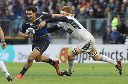 Glasgow's Rob Harley tackles Leinster's James Lowe during the Champions Cup pool three match at The RDS Arena, Dublin.
