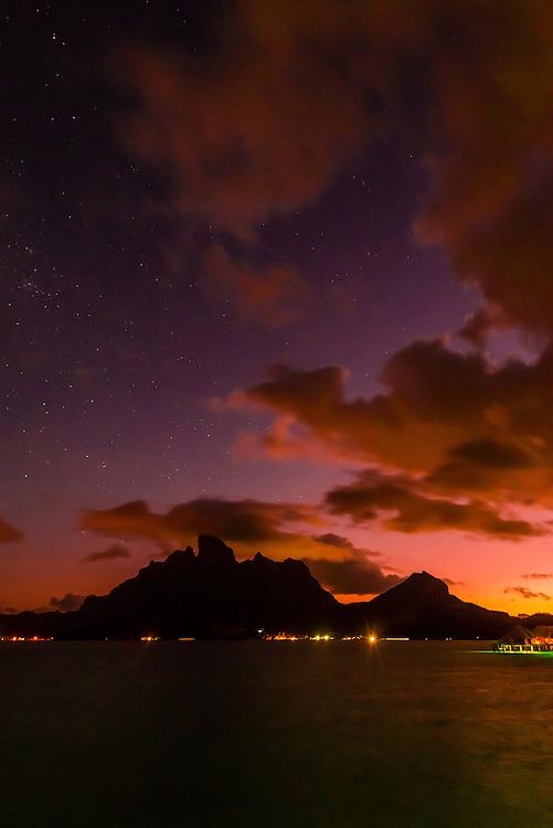 Mt. Otemanu at twilight, Bora Bora, Society Islands, French Polynesia.