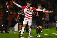 Danny Andrew of Doncaster Rovers (3) appeals for a throw in during the EFL Sky Bet League 1 match between Doncaster Rovers and Sunderland at the Keepmoat Stadium, Doncaster, England on 23 October 2018.