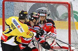 05.03.2013, Albert Schultz Eishalle, Wien, AUT, EBEL, UPC Vienna Capitals vs HC Orli Znojmo, playoff best of seven, 5. Runde, im Bild Daniel Woger, (UPC Vienna Capitals, #51), Lubomir Stach, (HC Orli Znojmo, #26) und Filip Landsman, (HC Orli Znojmo, #83)  // during the Erste Bank Icehockey League playoff best of seven 5th round match betweeen UPC Vienna Capitals and HC Orli Znojmo at the Albert Schultz Ice Arena, Vienna, Austria on 2013/03/05. EXPA Pictures © 2013, PhotoCredit: EXPA/ Thomas Haumer
