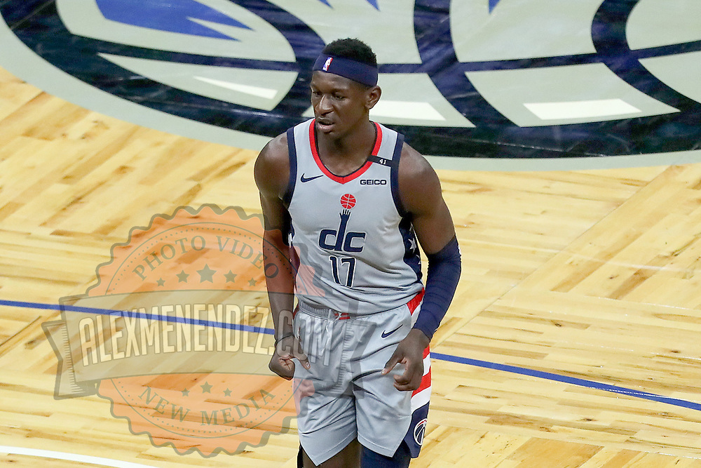 ORLANDO, FL - APRIL 07: Isaac Bonga #17 of the Washington Wizards plays defense against the Orlando Magic at Amway Center on April 7, 2021 in Orlando, Florida. NOTE TO USER: User expressly acknowledges and agrees that, by downloading and or using this photograph, User is consenting to the terms and conditions of the Getty Images License Agreement. (Photo by Alex Menendez/Getty Images)*** Local Caption *** Isaac Bonga