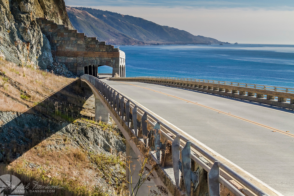 View of the Rock Shed structure, on HIghway 1, Big Sur Coast, California