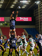 Sale Sharks lock Lood De Jager collects a line out during a Gallagher Premiership Round 12 Rugby Union match, Friday, Mar 05, 2021, in Eccles, United Kingdom. (Steve Flynn/Image of Sport)
