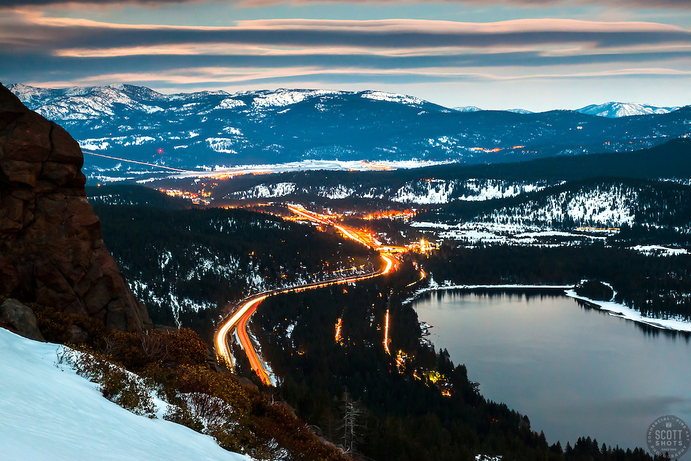 """""""Donner Lake at Night 4"""" - Photograph shot a bit after sunset of Donner Lake, Truckee, and traffic on Highway 80."""