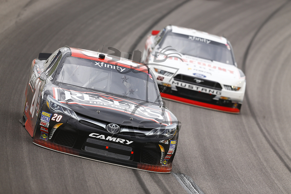 October 21, 2017 - Kansas City, Kansas, USA: Erik Jones (20) brings his car through the turns during the Kansas Lottery 300 at Kansas Speedway in Kansas City, Kansas.