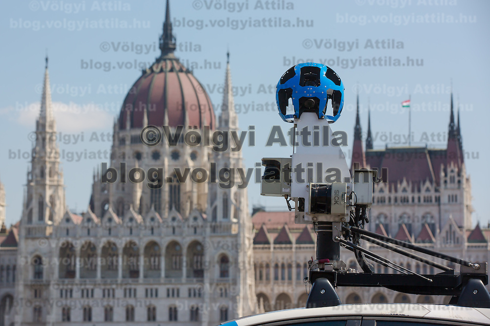 Camera section of a special car recording photos for the Google Street View service is seen in traffic in front of the Hungarian Parliament heading to a press conference on the Hungarian launch of Google Street View in Budapest, Hungary on April 23, 2013. ATTILA VOLGYI